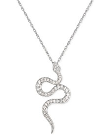 "Cubic Zirconia Snake 16"" Pendant Necklace in Sterling Silver"