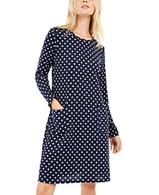 Petite Dot-Print Shift Dress With Pockets
