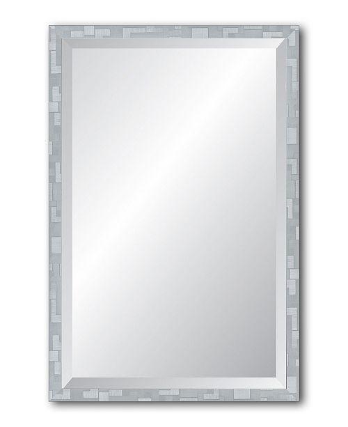 "Reveal Frame & Decor Reveal Millennium Geometric Silver Beveled Wall Mirror - 17"" x 26"""
