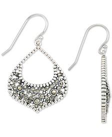 Marcasite Drop Earrings in Sterling Silver
