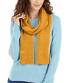 Ribbed Muffler Scarf With Logo Patch