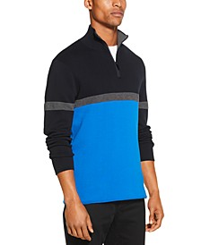 Men's Colorblocked Ottoman Stripe 1/4-Zip Logo Sweater