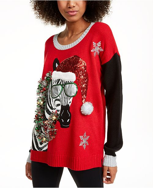 Hooked Up by IOT Juniors' Zebra Christmas Sweater