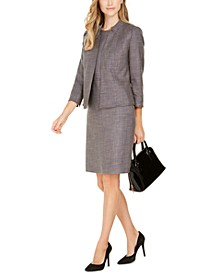 Tweed Stand-Collar Blazer & Tweed Sheath Dress