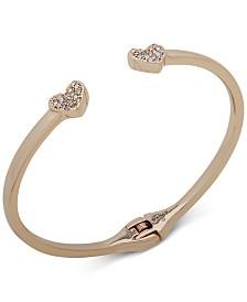DKNY Gold-Tone Pavé Heart Cuff Bracelet
