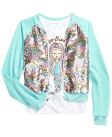 Big Girls 2-Pc. Flip Sequins Bomber Jacket & Always Dreaming Mermaid Tank Top Set