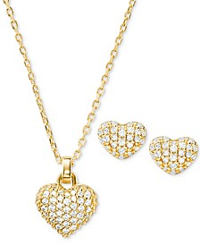 "Sterling Silver Pavé Puffy Heart Pendant Necklace & Stud Earrings Set, 16"" + 2"" extender"