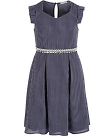 Big Girls Embellished Striped Dress