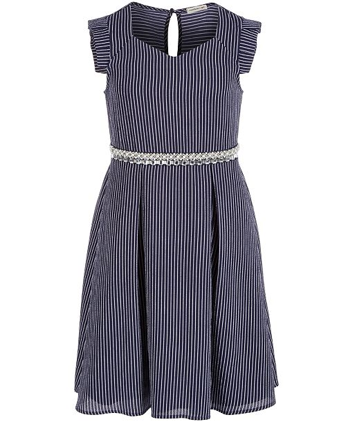 Monteau Big Girls Embellished Striped Dress