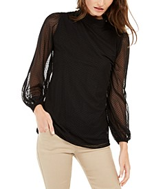 Mock-Neck Swiss-Dot Mesh Top, Created For Macy's