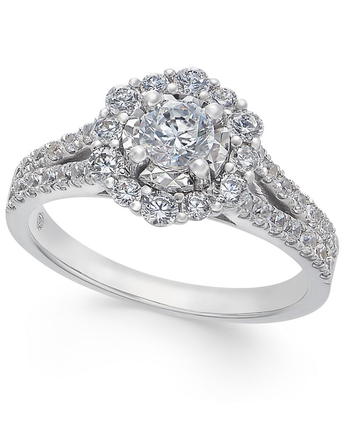 Macy's - Diamond Halo Engagement Ring (1 ct. t.w.) in 14k White Gold