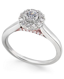 Diamond Halo Engagement Ring (1/2 ct. t.w.) in 14k White & Rose Gold