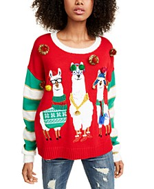 Juniors' Llama Christmas Sweater