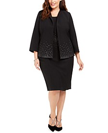 Plus Size Jeweled Blazer & Jeweled Sheath Dress