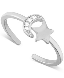 Crystal Moon & Star Toe Ring in Fine Silver-Plate