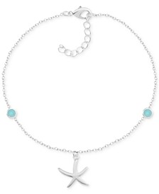 Blue Glass Starfish Anklet in Fine Silver-Plate