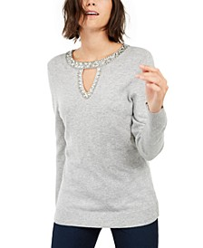 INC Embellished Keyhole Sweater, Created for Macy's