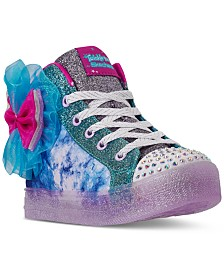Skechers Little Girls Twinkle Toes Bow Bright High Top Casual Athletic Sneakers from Finish Line