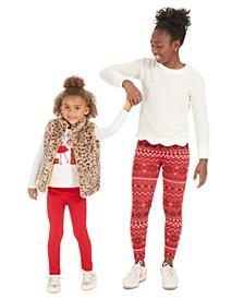 Toddler & Little Girls Reversible Vest, T-Shirt & Sweater Leggings & Big Girls Scalloped Sweater & Fairisle Leggings, Created For Macy's