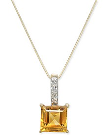 "Citrine (1-3/4 ct. t.w.) & Diamond (1/20 ct. t.w.) 18"" Pendant Necklace in 14k Gold"