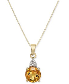 "Citrine (1-3/8 ct. t.w.) & Diamond (1/20 ct. t.w.) 18"" Pendant Necklace in 14k Gold"