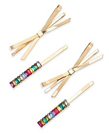 INC 4-Pc. Gold-Tone Multicolor Crystal & Bow Bobby Pin Set, Created For Macy's