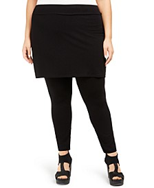 Plus Size Stretch Jersey Knit Skirted Leggings, Created for Macy's