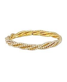 Gold Tone 5 Row Crystal Stretchy Bracelet