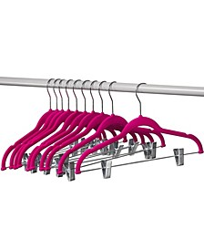 Velvet Hangers with Clips for Skirts and Pants, 10 Pack