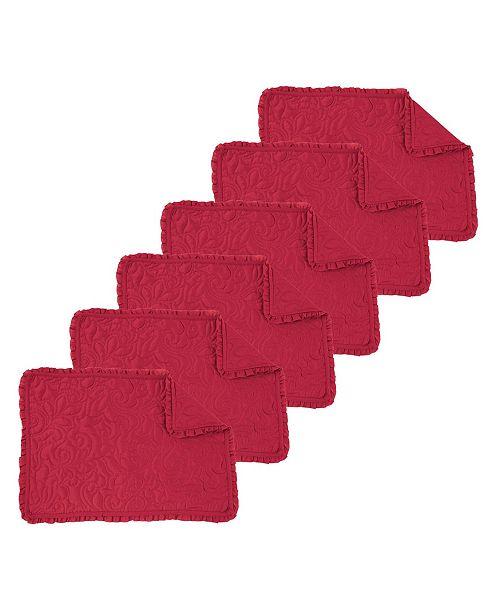 C&F Home Drayton Scarlet Placemat, Set of 6