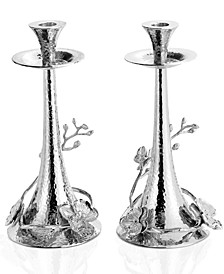 Set of 2 White Orchid Candlesticks