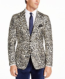 Men's Slim-Fit Black Cream Leopard Metallic Dinner Jacket