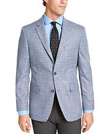 Men's Modern-Fit THFlex Stretch Blue/Gray Check Sport Coat