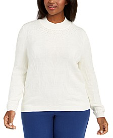 Plus Size First Frost Beaded Knit Sweater