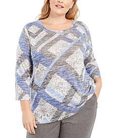 Plus Size Sapphire Skies Melange Knit Top