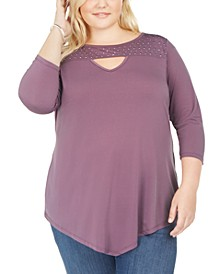 Plus Size Studded Keyhole Top