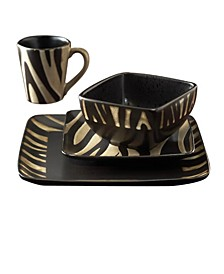 Safari Zebra 16 Pc Dinnerware Set