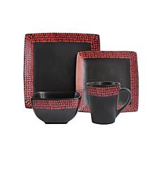 Rowen Black/Red 16 Pc Dinnerware Set