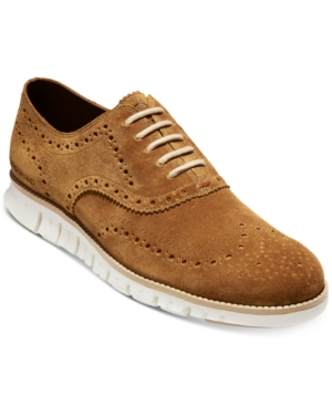 Cole Haan Oxfords MEN'S ZERØGRAND SUEDE WINGTIP OXFORDS MEN'S SHOES