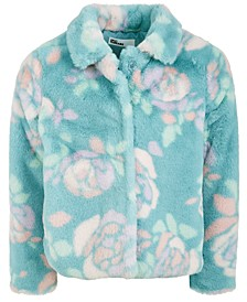 Little Girls Floral-Print Faux-Fur Jacket, Created For Macy's