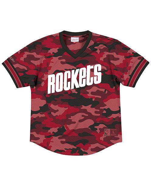 Mitchell & Ness Men's Houston Rockets Camo Mesh V-Neck Jersey Top