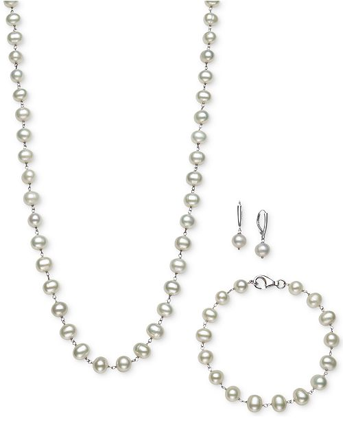 Belle de Mer Sterling Silver Set, Tin Cup White Cultured Freshwater Pearl Necklace, Bracelet, and Earrings