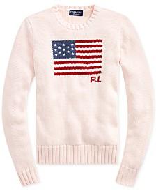 Polo Ralph Lauren Women's Pink Pony Flag Cotton Sweater