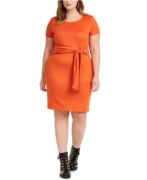 Planet Gold Trendy Plus Size Juniors' Tie-Waist Dress