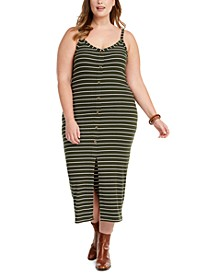 Trendy Plus Size Juniors' Button-Front Midi Dress
