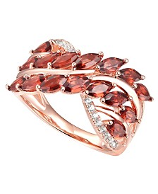 Rhodolite Garnet (2 ct. t.w.) & Diamond (1/10 ct. t.w.) Statement Ring in 14k Rose Gold-Plated Sterling Silver
