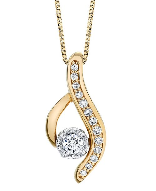 Sirena Diamond (1/4 ct. t.w.) Modern Pendant in 14k Yellow and White Gold