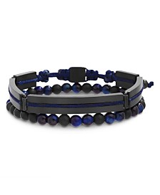 Ben Sherman Tiger Eye Beaded and Rectangle Link Duo Men's Bracelet Set
