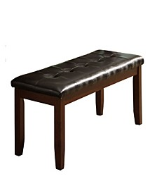 Wood Based Leather Tufted Bench
