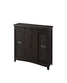 Wood and Metal TV Stand with 2 Mesh Style Doors